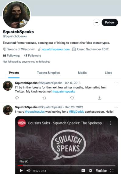 Cousins Subs Squatch Speaks Twitter Profile