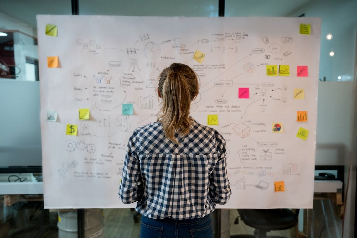 Stirvey Stock Photo Woman in Front of Board